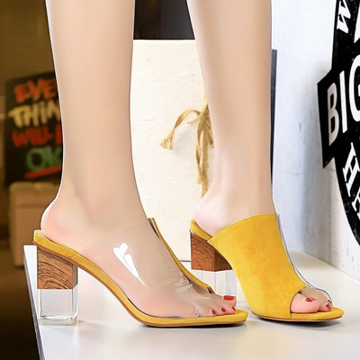 8362-2 han edition fashion with suede color matching crystal with high transparent fish mouth female slippers splicing h