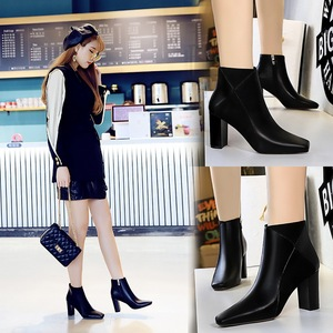 298-3 European and American wind fashion sexy nightclub show thin square thick with high heel leather stitching knight f