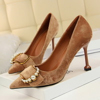 278-2 han edition high fashion footwear with suede shallow mouth pointed sexy thin metal pearl belt buckle shoes