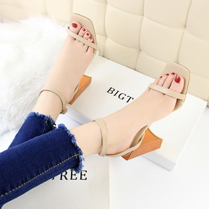 8868-18 han edition fashion contracted with ultra-high with wood grain thick with square head peep-toe one word with san