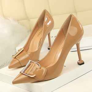 278-6 European and American wind professional women's shoe heels with patent leather high heel lighter pointed metal bel