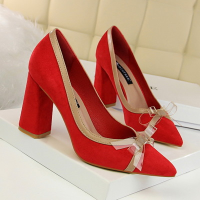 828-10 han edition fashion with suede shoes sweet thick with high light mouth pointed spell color transparent bowknot si