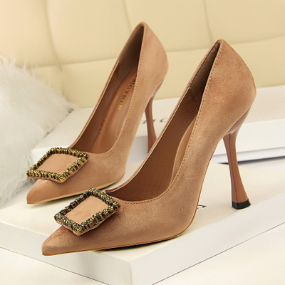 3212-2 the European and American wind fashion footwear banquet high heels high with suede shallow mouth pointed diamond