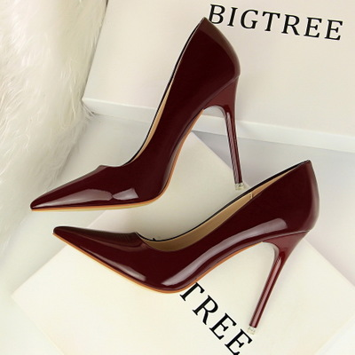 7133 han edition fashion contracted with patent leather high shallow mouth pointed sexy nightclub show thin high heels f