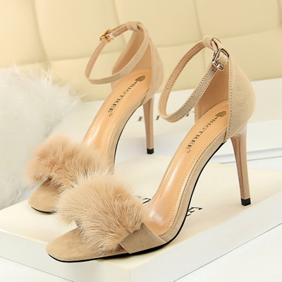 217-8 han edition sexy high heels for women's shoes high heel with suede party maomao one word with rabbit hair