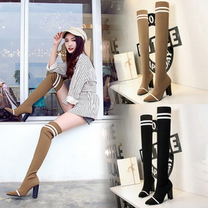 296-1 han edition fashion show thin pedicure thick with show thin wool sexy high-heeled tines knee-high boots