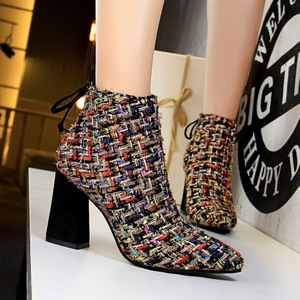 737-3 European and American wind fashion sexy nightclub show thin short tube female boots with color matching woven shor