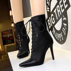 2362-63 in the canister boots with high heels satin pointed with cross strap sexy nightclub show thin ladie