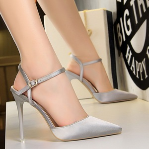 86-2 the European and American wind contracted fine women's shoes with high heels satin shallow mouth pointed sexy