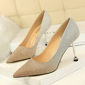 0755-1 han edition style high heel with shallow pointed mouth shining color gradient color matching single shoe heels fo
