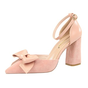 828-23 han edition with suede high heels sweet thick with shallow mouth pointed bow sandals, hollow out a word