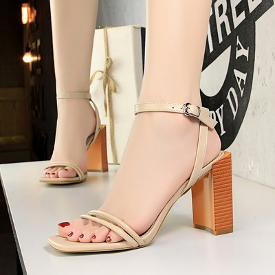 8868-20 han edition style wood with thick with high with square head, open-toed sandals in the summer a word high heels