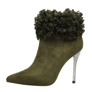8663-6 new han edition winter fashion female boots fine with high heels and sexy nightclub show thin pointed maomao shor