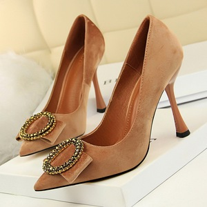 3212-1 the European and American fashion party shoes high heels high with suede shallow mouth pointed round diamond buck