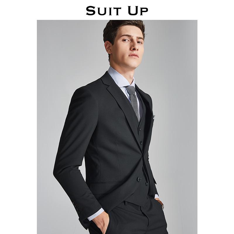 休塔西装男套装夏季黑色 新郎伴郎结婚礼服 男士职场商务正装薄款
