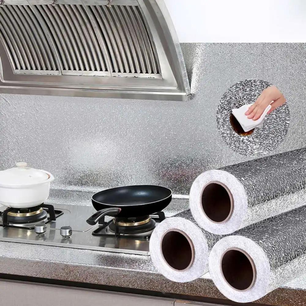 爱馨铝箔银色橘皮纹防潮橱柜垫墙纸 耐高温厨房瓷砖创意防油贴纸