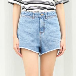 (实拍)新款 韩版简单高腰显瘦牛仔裤女短裤热裤  0271#