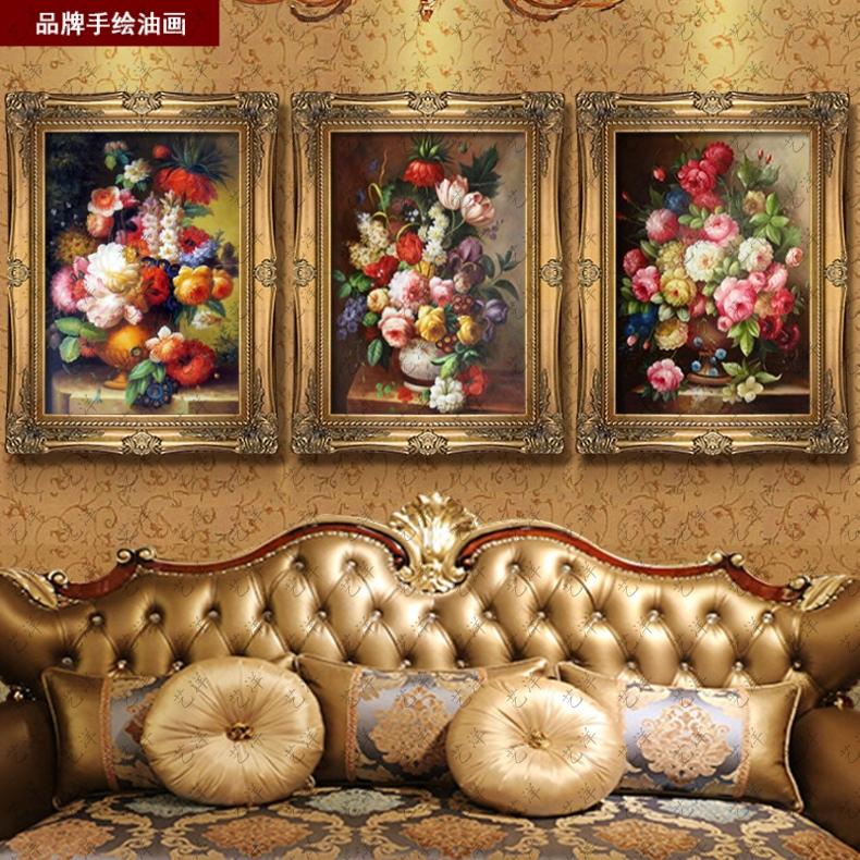 【艺洋官网】欧式古典花卉油画美式手绘别墅壁画客厅
