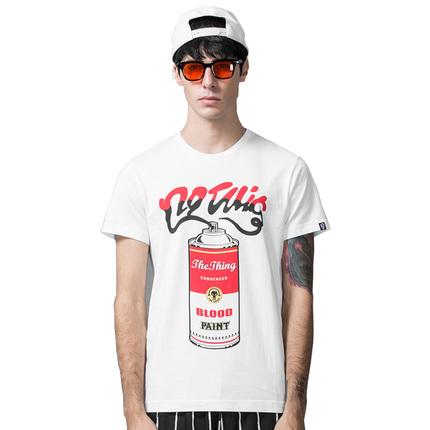 THETHING潮牌T恤夏季新款 血喷漆经典致敬印花短袖T恤男纯棉