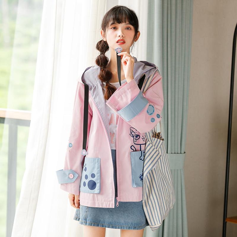 Áo khoác/Áo khoác mỏng nữ hình ngộ nghĩnh tôn dáng thời trang kiểu dáng rộng rãi phong cách học sinh phù hợp cho mùa thu mẫu mới nhất liền mũ