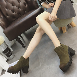 韩版高跟短靴粗跟及踝靴女秋冬2016新款真皮磨砂皮复古防水台裸靴