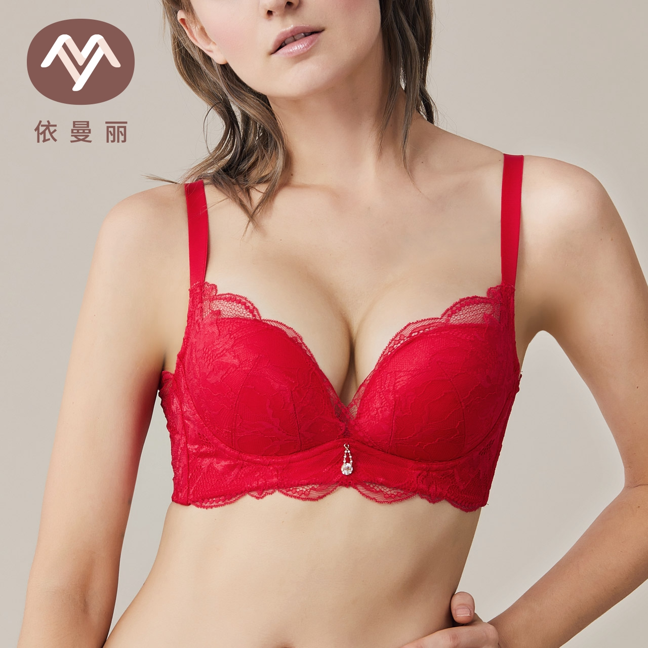 依曼丽2018红色本命年文胸 女士性感新年红色内衣