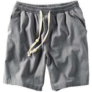 夏男士休闲亚麻短裤子松紧棉麻料五分薄款腰绳透气加肥加大码中裤