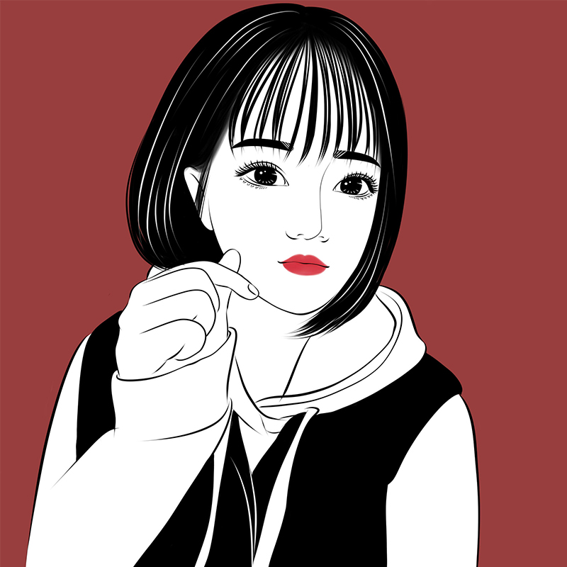 手绘定制头像女黑白写实绘画q版卡通形象设计情侣照片
