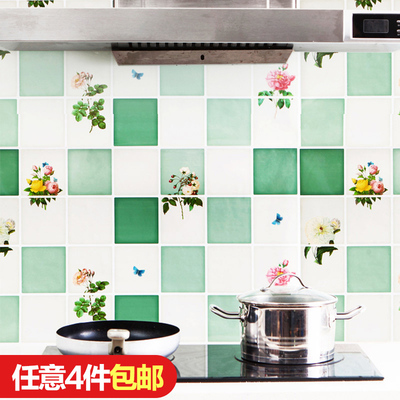 Foil anti-fume stickers high temperature oil-resistant wallpaper kitchen stove tile wall stickers waterproof