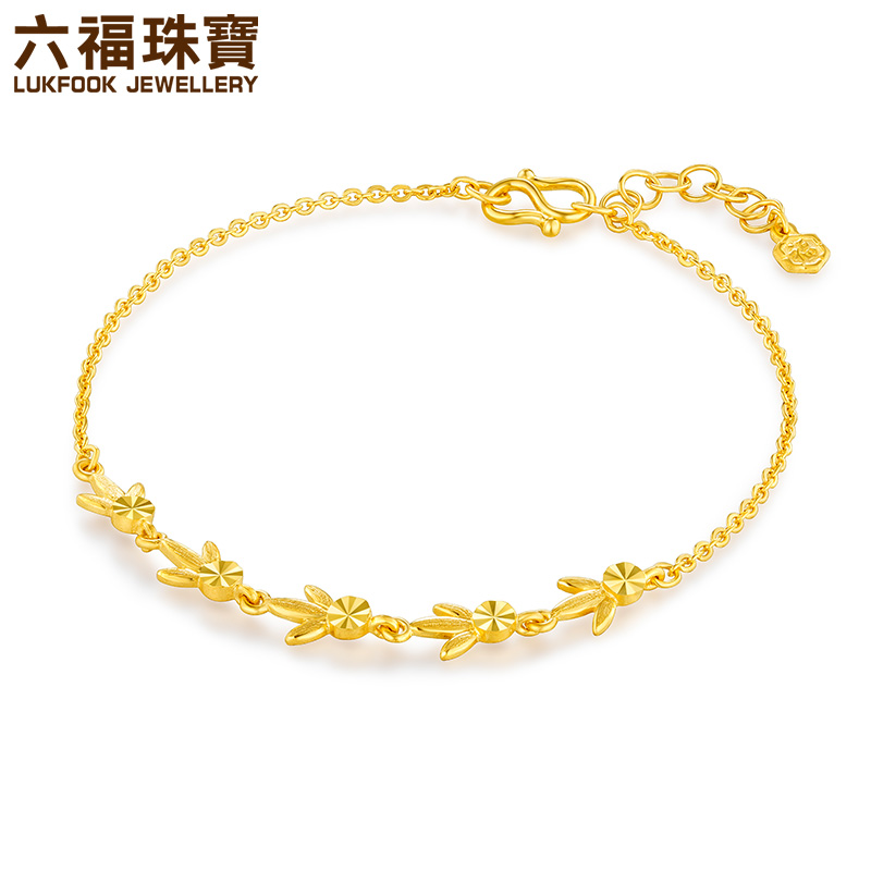 六福珠宝黄金手链枫叶精灵足金手链女金手链正品计价GMGTBB0019