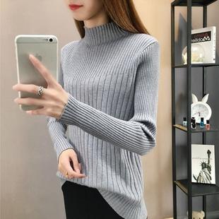 10加绒/不加绒秋冬装半高领针织衫女韩版大码修身长袖毛衣内搭上