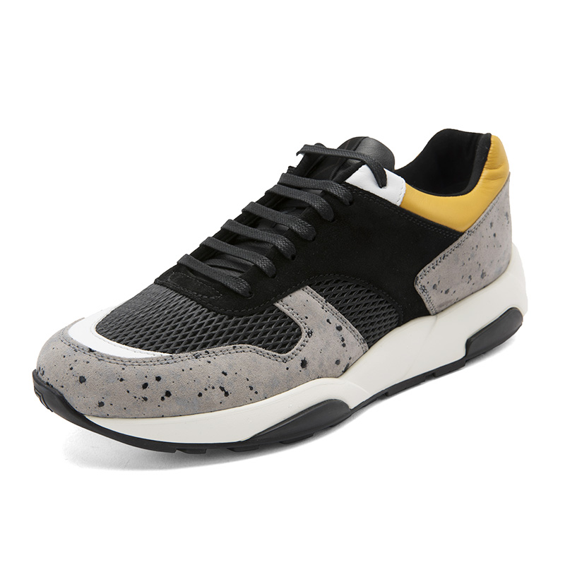 ZEGNA-杰尼亚 拼色网状设计男士牛皮革材质系带运动鞋