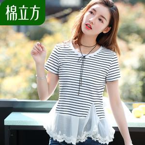 雪纺花边下摆条纹T恤女短袖夏季2018新款棉立方气质可爱少女上衣