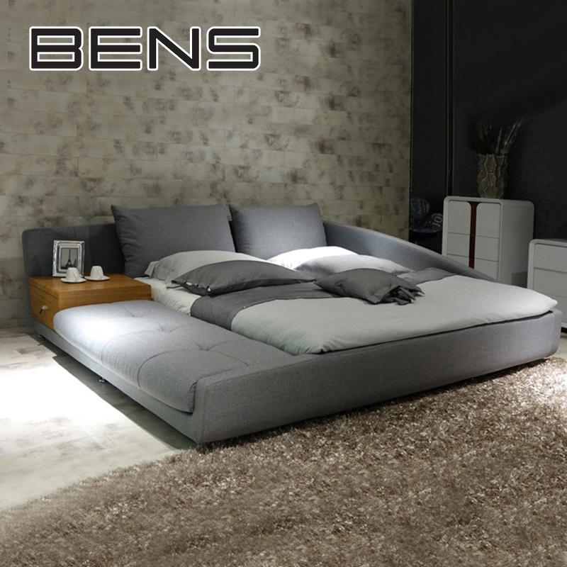 奔斯现代简约北欧布艺床榻榻米床布床双人床1.8米主卧床婚床9233