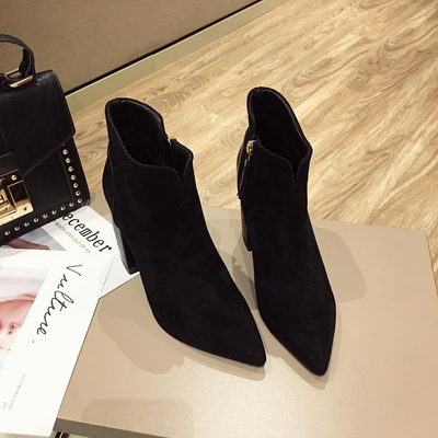 2018 women's autumn new matte suede Martin boots thick with ...