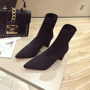 category/Shoes/2018 New Women's Boots Yarn Elastic Ankle Boots Thick Heel H...