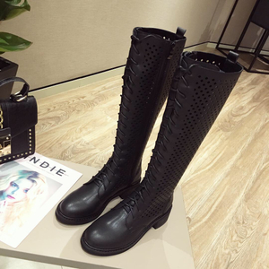 category/Shoes/Summer Mesh Women Boots Lace Up Knee High Boots Women Square...