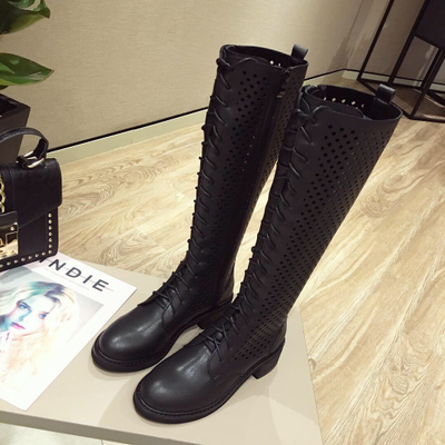 Summer Mesh Women Boots Lace Up Knee High Boots Women Square...
