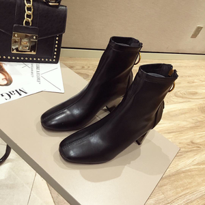 category/Shoes/Zipper British wind after single boots square thick with hig...