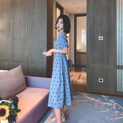 方领波点雪纺连衣裙女2019夏季新款复古长裙气质收腰显瘦法式裙子