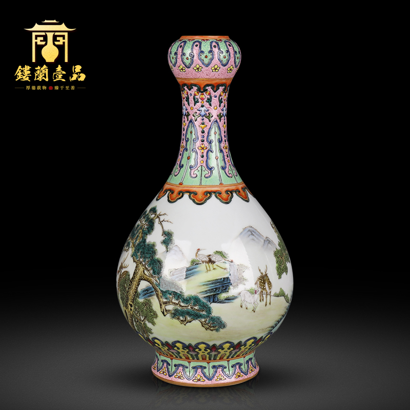 Jingdezhen ceramics powder enamel deer loose grain garlic furnishing articles flower vase Chinese style living room home decoration collection