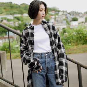8840#yoke实拍2018秋上新款格子衬衫女宽松长袖文艺...
