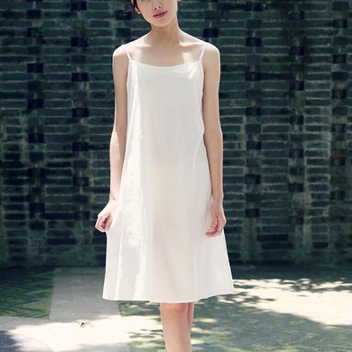 春夏纯棉白色吊带裙小白裙无袖纯白薄款打底裙内搭衬裙女士连衣裙