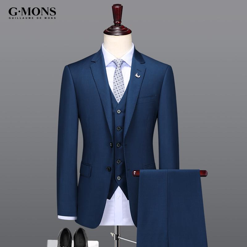 男士羊毛西服套装蓝色商务休闲西装韩版修身职业正装新郎结婚礼服