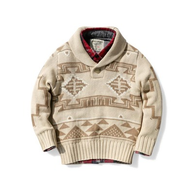 Boys double jacquard sweater children's clothing green collar cotton sweater children baby beige 4-8 years old soft line clothing