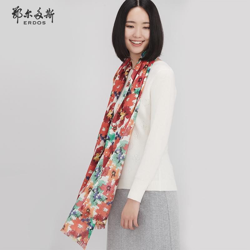 鄂尔多斯 羊绒精纺印花长披肩180X70 Q256S2003