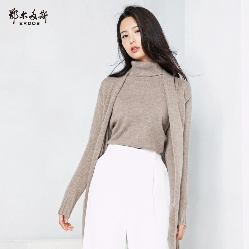 鄂尔多斯 18秋季新品纯羊绒V领中长款女针织开衫外套Q286W1029