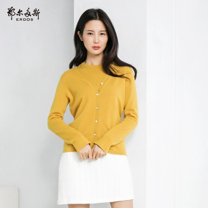 鄂尔多斯 18秋冬新品纯羊绒V领螺纹纯色女士针织开衫Q286W1015