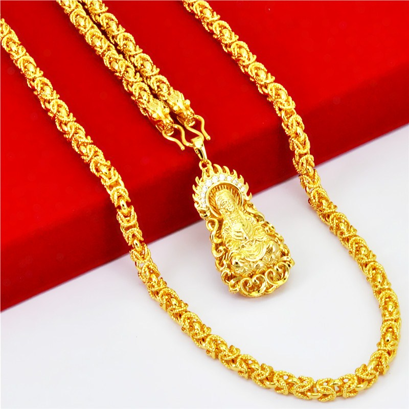 Wedding package mail new sand gold necklace head chain imitation fashion jewelry gold plated boy double dragon gold wedding