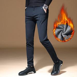 商务休闲男裤冬季加绒加厚运动长裤青年韩版潮流直筒工装裤保暖帅